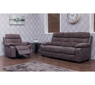 1 Fabric Recliner Suite Dark Grey, Brown Fabric Recliner Sofa 3 2