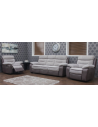 TUNE 3 + 1 + 1 FABRIC RECLINER SUITE - GREY / CHARCOAL